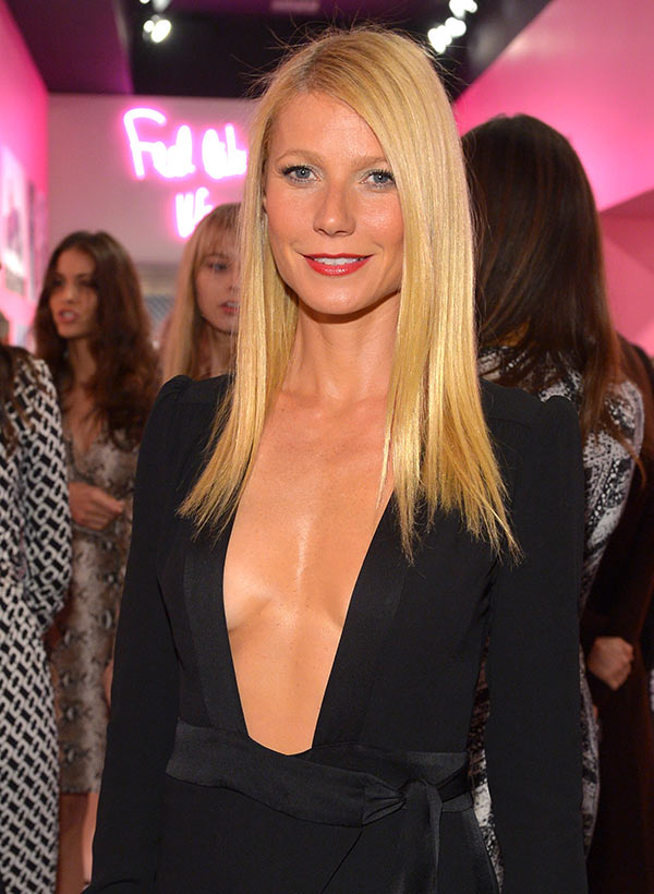 Actress Gwyneth Paltrow, wearing Diane Von Furstenberg, attends Diane Von Furstenberg's Journey of A Dress Exhibition Opening Celebration at May Company Building at LACMA West in Los Angeles, California.