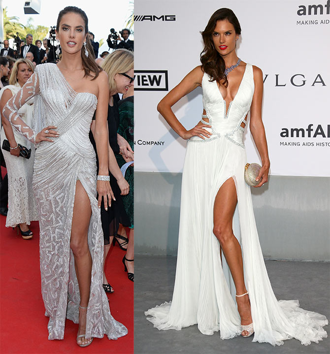 Alessandra Ambrosio attends the 'Two Days, One Night' (Deux Jours, Une Nuit) premiere; (right) Ambrosio at amfAR's 21st Cinema Against AIDS Gala.