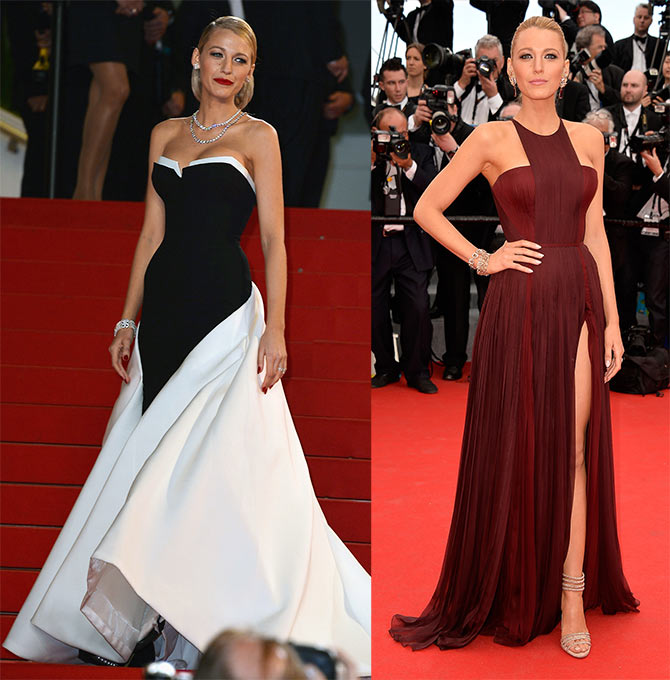 Blake Lively attends the 'Captives' premiere ;(right) Lively at the opening ceremony and the 'Grace of Monaco' premiere.