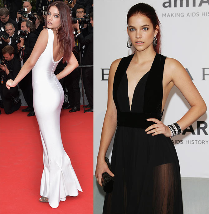 Barbara Palvin attends 'The Search' premiere; (right) Palvin at amfAR's 21st Cinema Against AIDS Gala.
