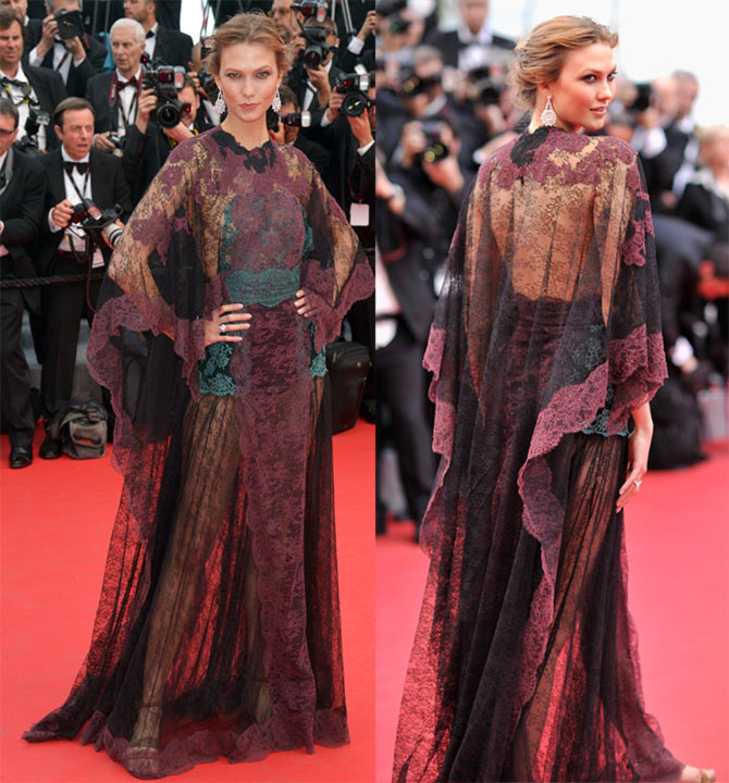 Karlie Kloss attends the opening ceremony and the Grace of Monaco premiere during the 67th Annual Cannes Film Festival.