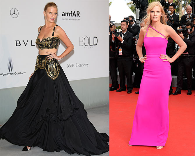 Lara Stone attends amfAR's 21st Cinema Against AIDS Gala; (right) Lara at The Search premiere.