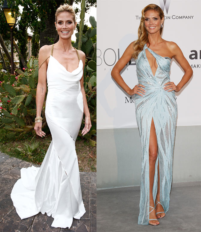 Heidi Klum attends the Puerto Azul Experience; (right)  Klum at amfAR's 21st Cinema Against AIDS Gala.
