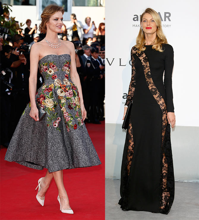 Eva Herzigova and Angela Lindvall at the  the 67th Annual Cannes Film Festival.