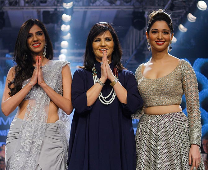 Neeta Lulla takes a bow with Tamannah and Nishka