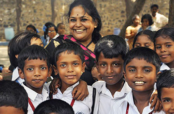 Geeta Sridhar with the kids