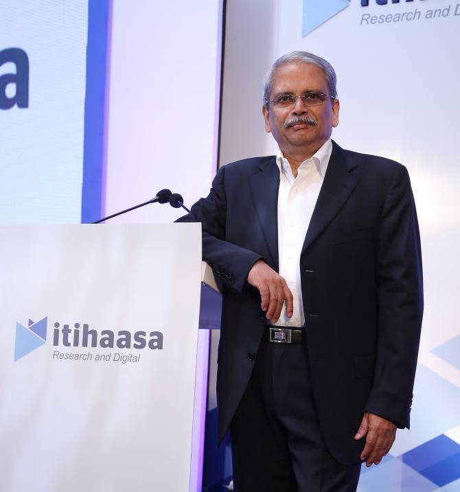 IMAGE: Infosys co-founder Senapathy 'Kris' Gopalakrishnan in Mumbai at the launch of mobile app itihaasa