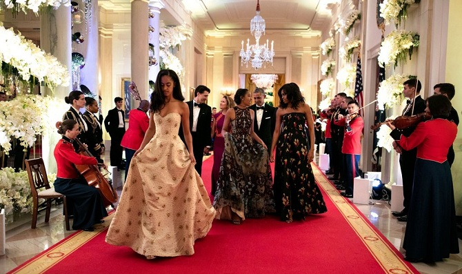 Arriving for the State Dinner