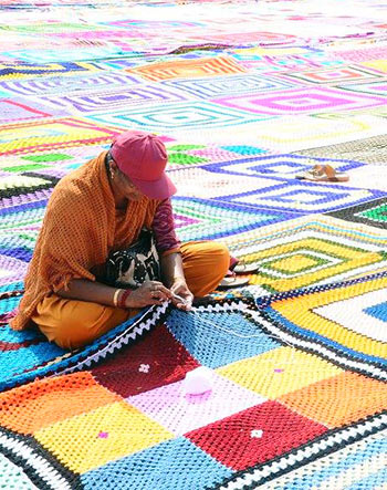 Latest News from India - Get Ahead - Careers, Health and Fitness, Personal Finance Headlines - In pics: World's largest crochet blanket