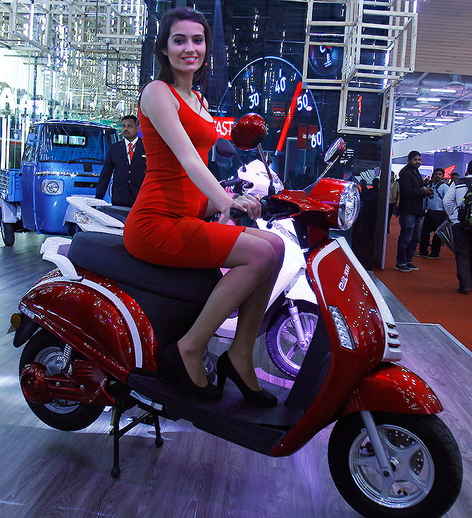 Electrifying! Bikes and models at Auto Expo