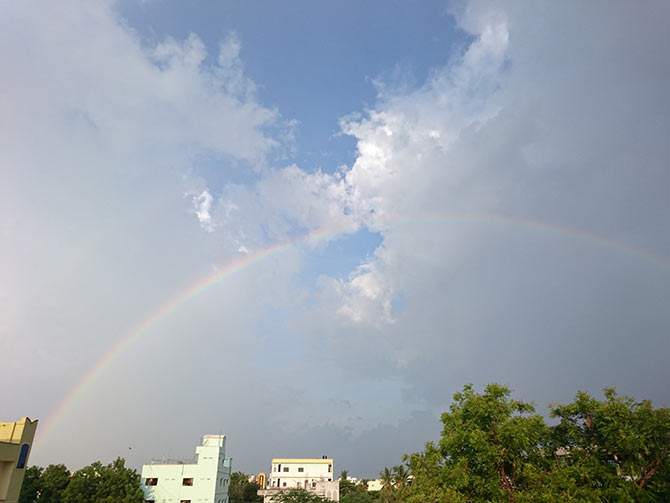Latest News from India - Get Ahead - Careers, Health and Fitness, Personal Finance Headlines - Monsoon pics: A rainbow in the clouds