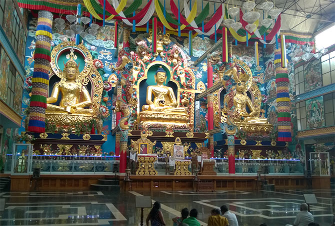 The golden statues at Namdroling monastery.