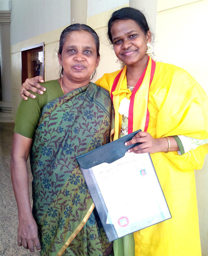 Chitra (right) with her mother