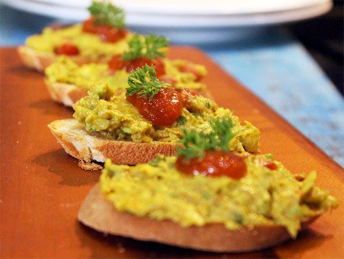 Avocado and Mango Murabba on Crostini by chef Rakhee Vaswani