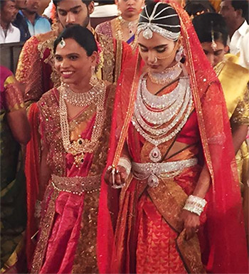 At her wedding, Brahmani Reddy, controversial mining baron Gali Janardhan Reddy's daughter, was dressed in a red Kanjeevaram sari that reportedly cost Rs 17 crore.