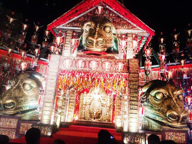 Durgapuja stunning creative pics you must see rediff get ahead kolkata resident ankita banerjee sent an image of a pandal from the tridhara sammilani puja in deshapriya park kolkata scroll down to take a closer look altavistaventures Choice Image