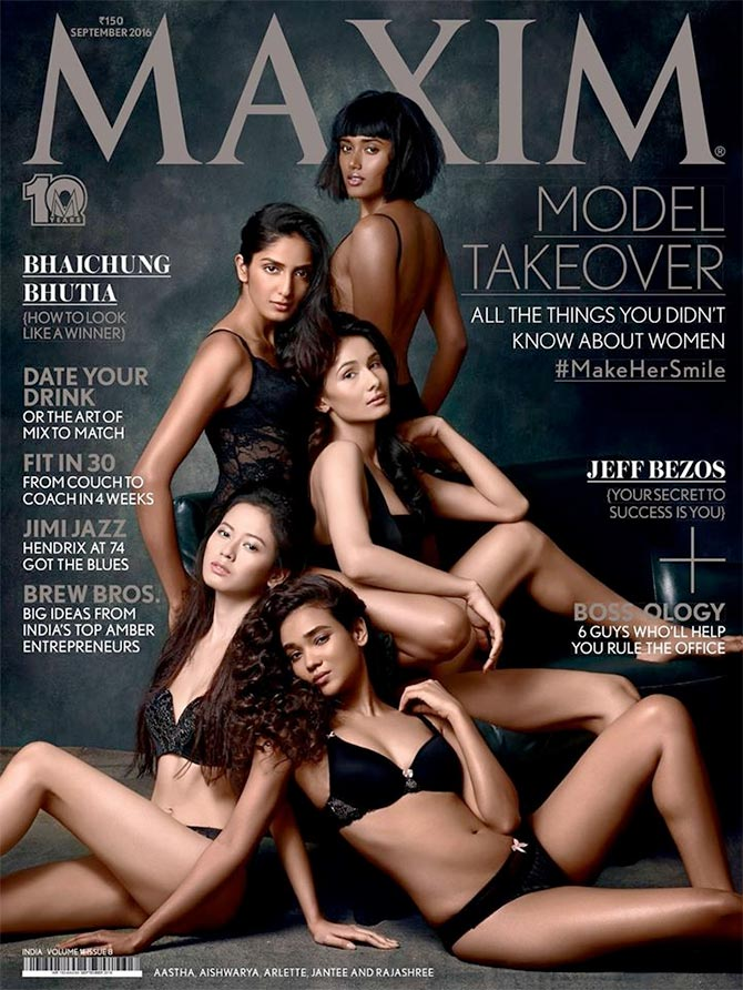 Models Jantee Hazarika (top right), Aishwarya Sushmita (top left), Aastha Pokharel (middle), Rajashree Singha (bottom left) and Arlette Evita Grao (bottom right).