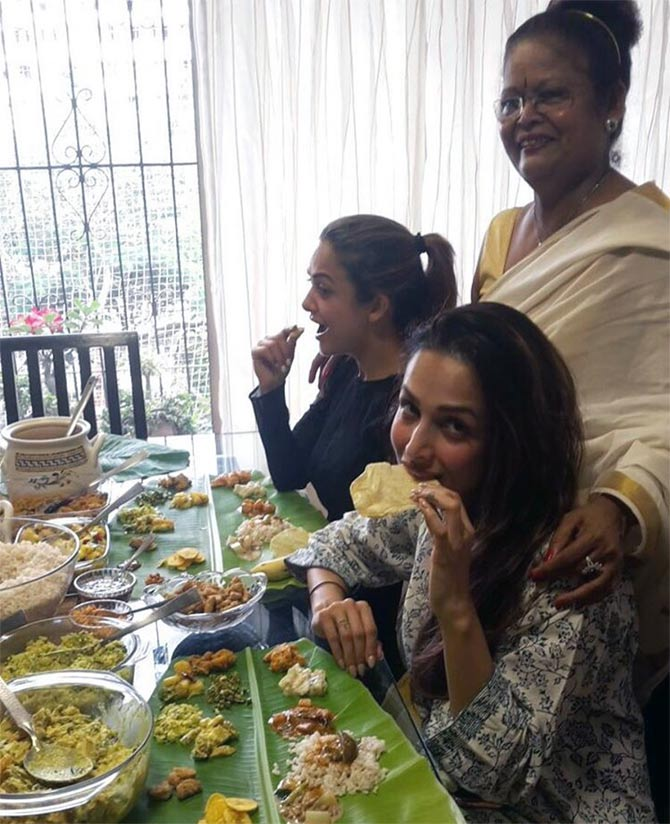 Onam Sadhya with Malaika Arora Khan and Amrita Arora