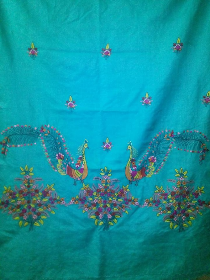 Hand embroidered Kashmiri shawl