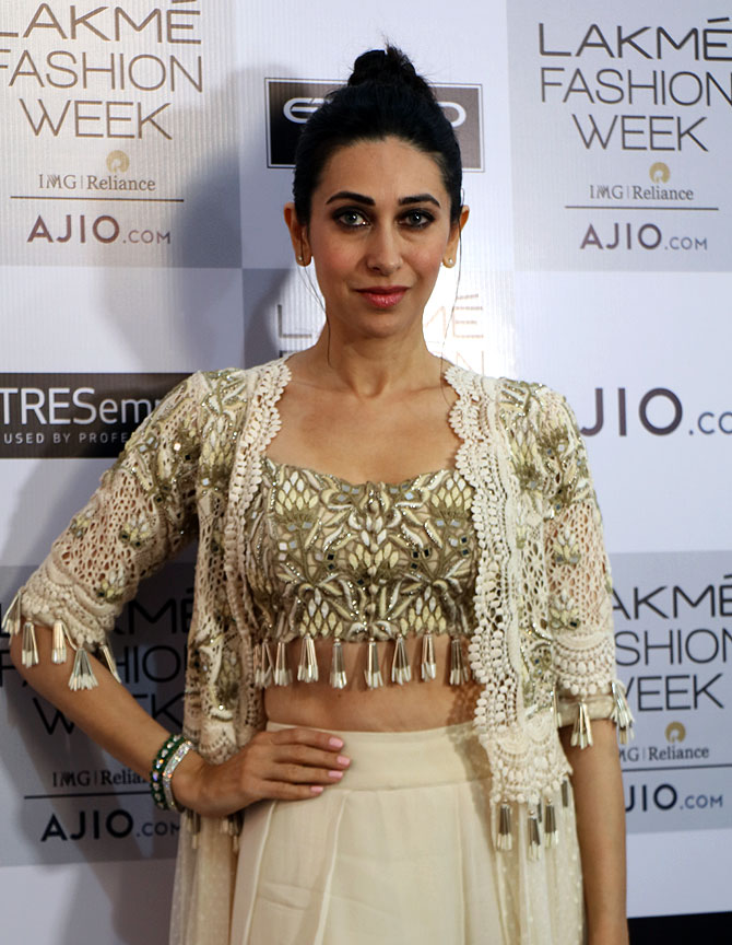 Ms Kapoor looked wearing a white crochet jacket with a fringed blouse and palazzo pants.