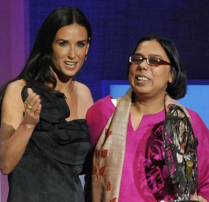 Ruchira Gupta and Demi Moore