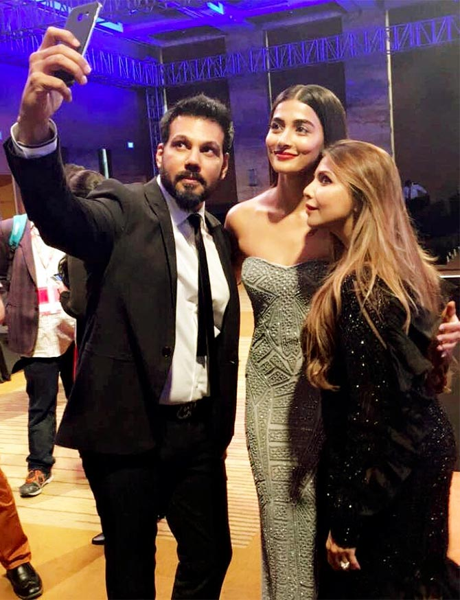 Falguni and Shane Peacock with Pooja Hegde