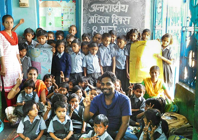 Rahul Dubey with school kids