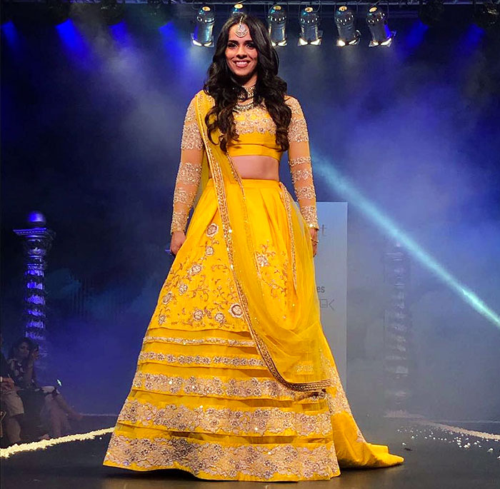 Another Olympian, Saina Nehwal  looked gorgeous as she sashayed down the ramp at the Bangalore Times Fashion Week in Oct 2017