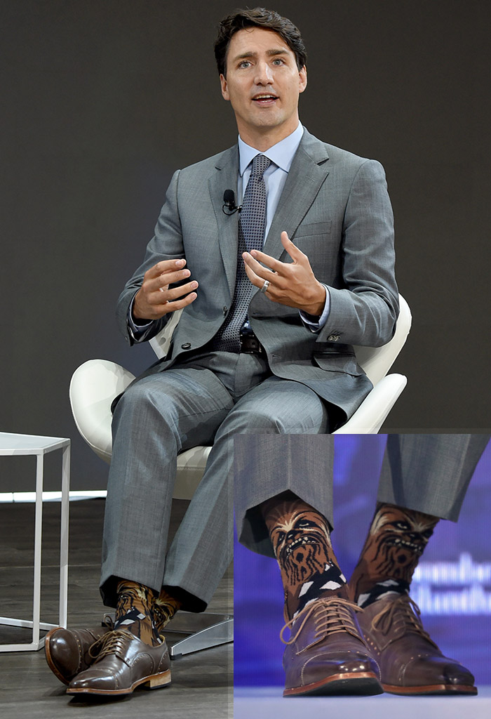Justin Trudeau Star Wars Chewbacca socks