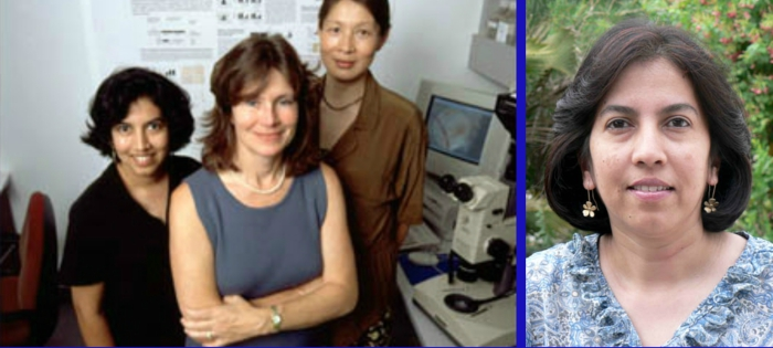 Manjiri Bakre (left)in 2002 during her time as a researcher at the Rebecca and John Moores UCSD Cancer Center lab at the university of California, San Diego.