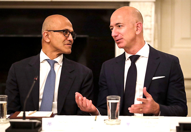 CEOs Satya Nadella and Jeff Bezos