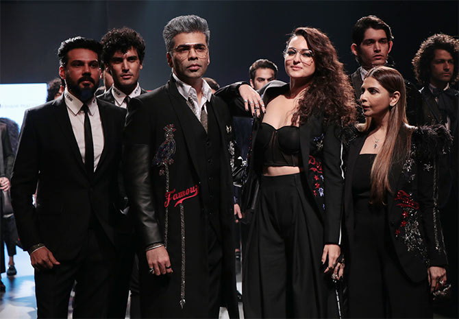 Karan Johar, Sonakshi Sinha - Falguni and Shane Peacock Lakme Fashion Week