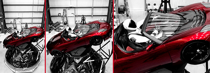 Tesla Roadster in Space-Falcon X Space X