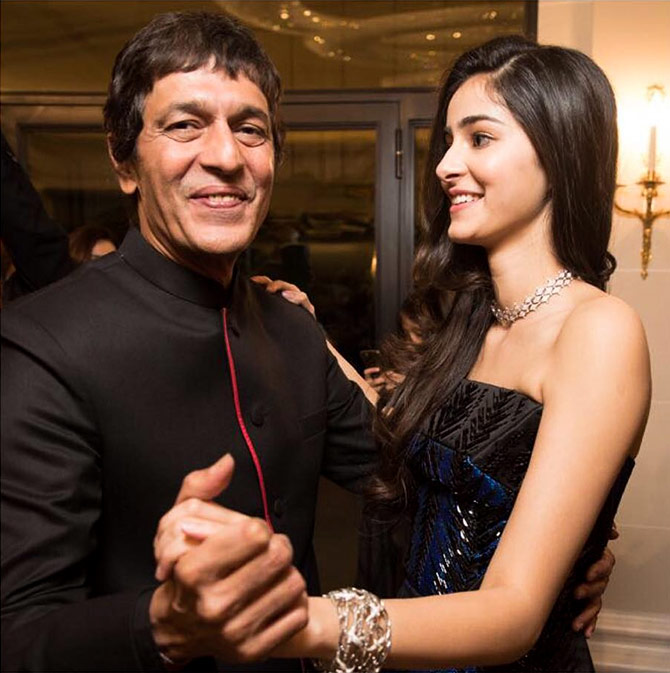 Chunky Pandey with his daughter