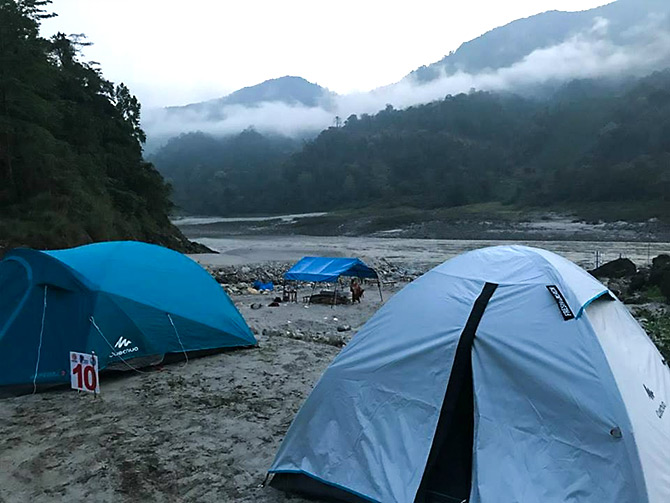 Camping on the Siang river. Photograph: Courtesy Arunachal Tourism.