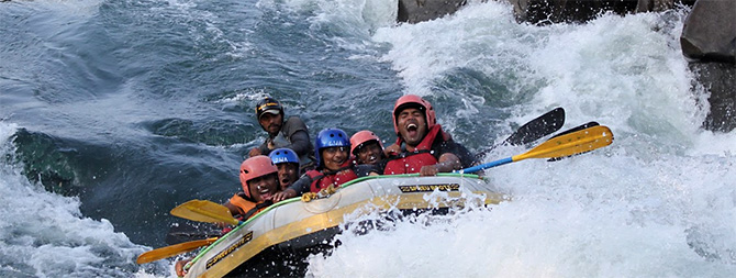 River rafting on the Siang. Photograph: Courtesy Arunachal Tourism.