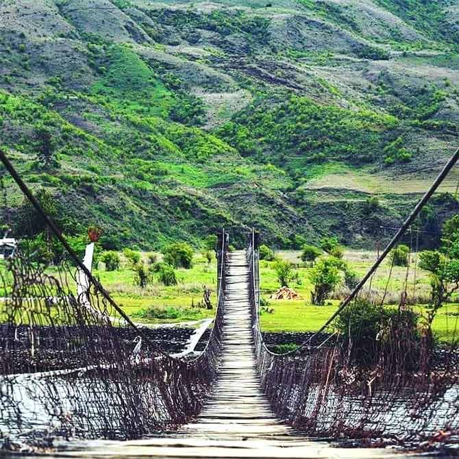 A hanging bridge over the Siang river. Photograph: Kind courtesy Arunachal Tourism