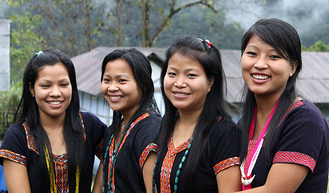 Gilrs of the Adi tribe. Photograph: Courtesy Arunachal Tourism.