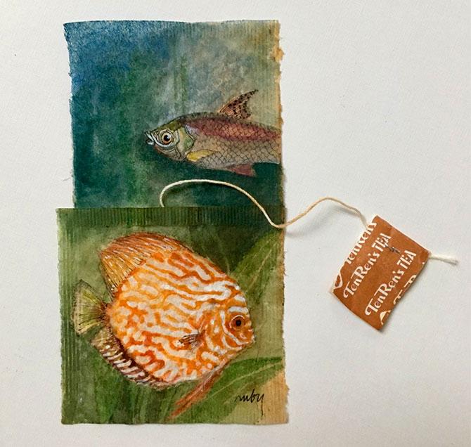 Pix this artist creates stunning art on used tea bags for Fish tea bags