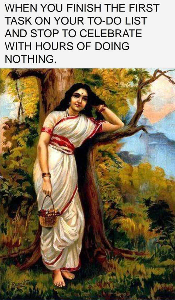 Raja Ravi verma memes as imagined by Sowmya