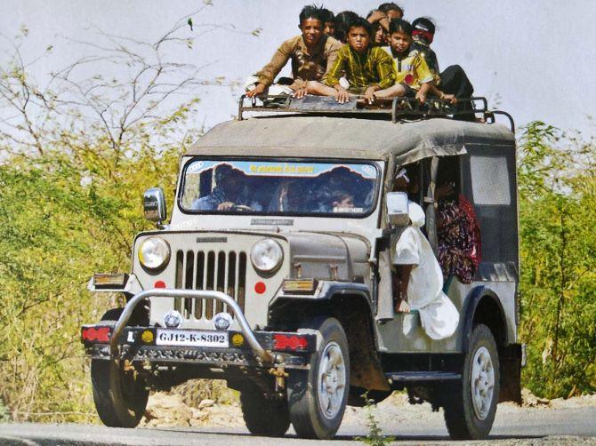 Mahindra commander on the road