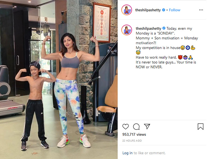 Shilpa works out with her son Viaan