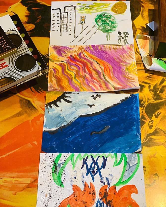 Tahira, Ayushman paint with kids