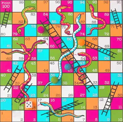 A snakes and ladder board