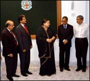Tamil Nadu Chief Minsiter J Jayalalithaa with Infosys Chairman N R Narayana Murthy (2nd from right) and CII President Anand Mahindra (2nd from left) at the Infosys SDC foundation stone laying ceremony in Chennai.