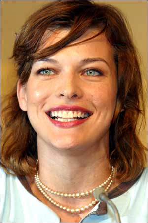 Milla Jovovich at press conference for the promotion of her movie BioHAZARD in Tokyo. Photo: Junko Kimura/Getty Images