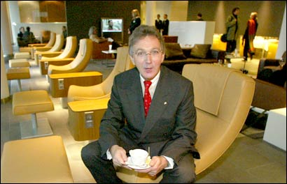 Lufthansa Chairman Wolfgang Mayrhuber at the world's first luxury air terminal. Photo: Getty Images