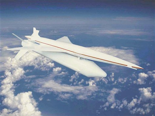An artist's rendition released by Japan Aerospace Exploration Agency (JAXA) in Tokyo, a supersonic aircraft, piggybacked on a rocket, flies in the sky. Photograph: Japan Aerospace Exploration Agency, HO