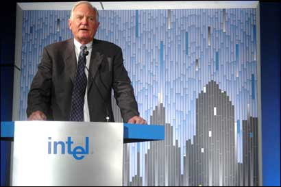 Intel Chairman Craig Barrett addressing a press conference in New Delhi on Monday. Photograph: Sondeep Shankar/ Saab Pictures