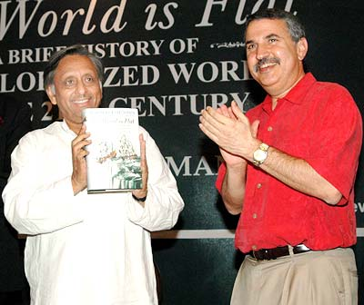 Union Petroleum Minister Mani Shankar Aiyar releasing NYT columnist Thomas Friedman's new book The World Is Flat - A brief history of The Globalized World in the 21st Century, in New Delhi on Monday. Photograph: Sondeep Shankar/ Saab Pictures